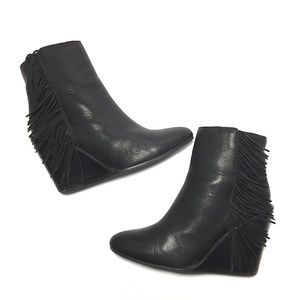 See by Chloé Fringe Wedge Ankle Boot Size 38